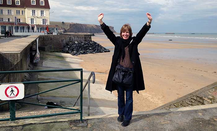 Sue Lillie in Arromanches, Gold Beach